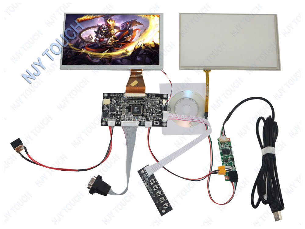 Free shipping 7 TFT A070VW04 V0 800x480 LCD Screen + USB Touch Panel + VGA AV Controller Board Kit 6 2 tft hsd062idw1 800x480 lcd screen with touch panel usb kit plus vga av lcd controller board kit