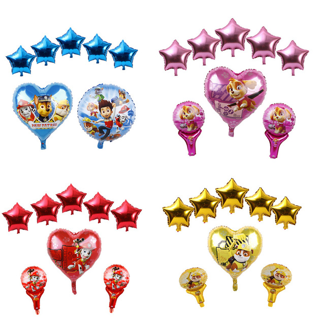 18inch Sky Chase PAW PATROL Foil Balloons Baby Shower Boy Girl Birthday Party Supplies Dog Set Ballons Handheld Stick Air Globos