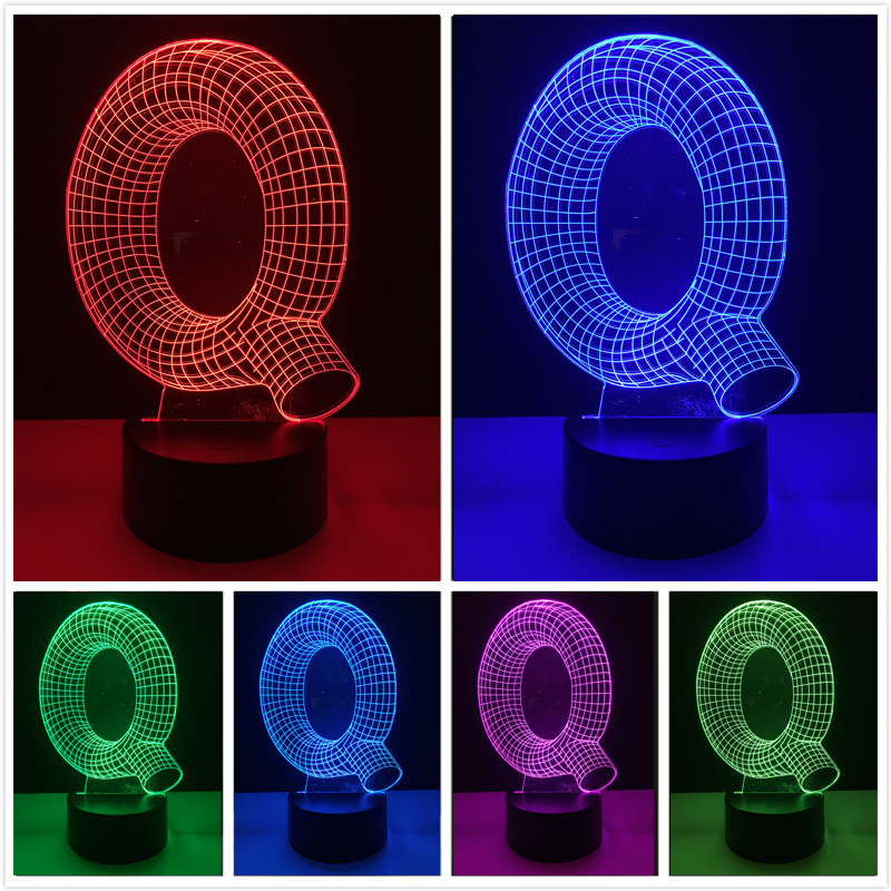 7 цветов Изменение градиент Алфавит Буква Q визуальный USB Touch Lampara СВЕТОДИОДНЫЙ Ночник настольный светильник Спальня прикроватной тумбочке И...
