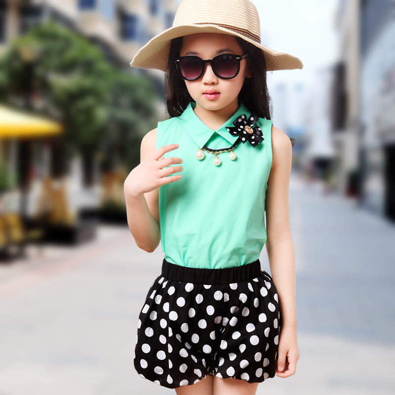New summer style girl Shirt + shorts culottes bow necklace clothing sets  fashion casual child kids girls party clothes set 2pcs on Aliexpress.com  e766628b5