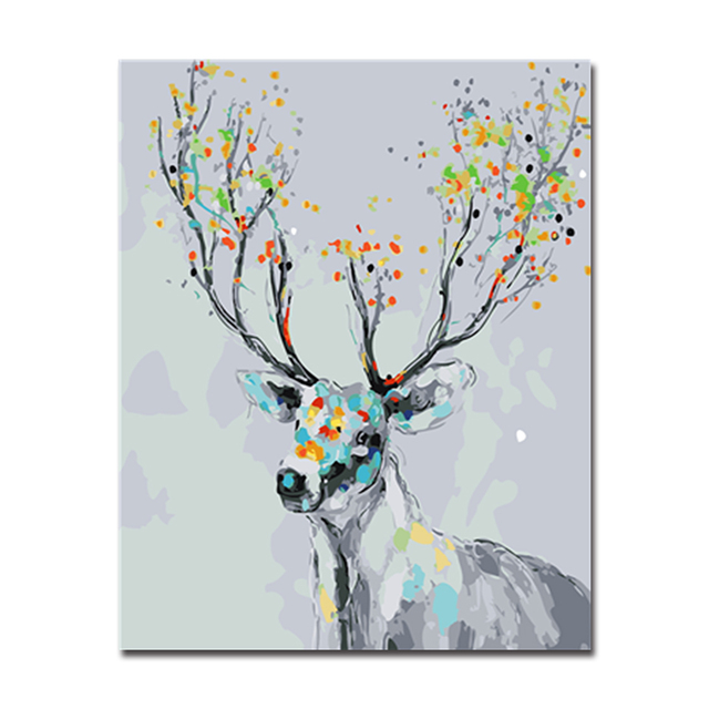Diy painting acrylic on canvas kits coloring drawing deer framework diy painting acrylic on canvas kits coloring drawing deer framework wedding decoration wall art popular by junglespirit Gallery