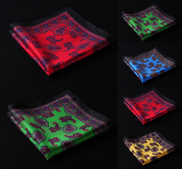 HN27 Paisley Handkerchief 100% Natural Silk Satin Mens Hanky Fashion Classic Wedding Party Pocket Square