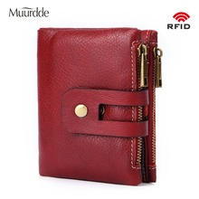 Muurdde Genuine Leather Women Wallet Female Short Wallets Double Zipper Coin Purse Small ID Card Holder For Money Bag Portomonee rfid booking women wallets double zipper genuine leather wallet women purse small short clutch lady handy bag card holder wallet