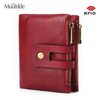 Muurdde Genuine Leather Women Wallet Female Short Wallets Double Zipper Coin Purse Small ID Card Holder For Money Bag Portomonee - DISCOUNT ITEM  47% OFF All Category
