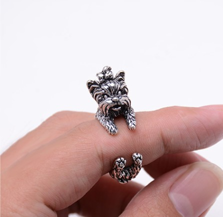 2016 Retro New Arrival Vintage West Highland Yorky Terrier Rings Streched Animal Yorkshi ...
