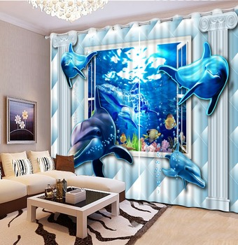 Decoration curtains 3D Window Curtain Foggy forest Luxury Blackout Living Room office Bedroom dolphin curtains