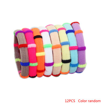 12pcs Color Random Girls Elastic Hair Bands Rubber Headbands Cute Head Decoration Accessories 1
