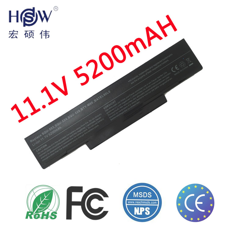 HSW 5200MAH BTY-M66 SQU-528 Batteri För MSI M655 M660 M662 M670 M677 CR400 PR600 PR620 GX400 GX600 GX610 GX620 Batteri Batteri