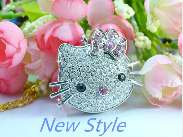 Usb Stick USB flash drive 4GB-64GB Mini crystal lovely cat model USB Flash 2.0 Memory Drive Stick S240pendrive