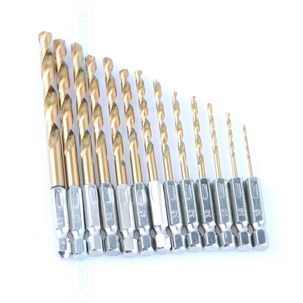 13 pcs per set 1/4 hex shank twist drill bit set saw set HSS high steel Titanium coated drill woodworking tool 1.5mm to 6.5mm g 3pcs set quick change hex shank larger titanium coated m2 tool step drill bit set 71960 t