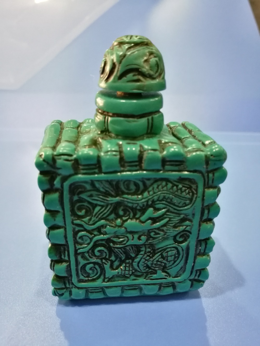 China Folk old beautifully carved Turquoise snuff bottle A05