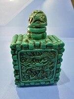 Chiny Ludowe stare pięknie rzeźbione Turkusowy butelki tabaki A05