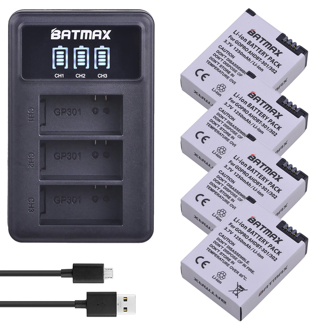 4 pezzi 1250mAh Hero 3 Gopro Hero3 sostituzione batteria LED caricatore doppio USB per GoPro Go pro Hero 3 3 telecamere