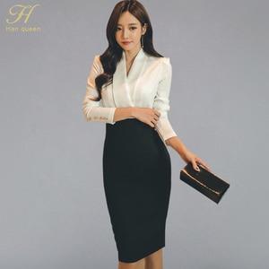 Image 1 - H Han Queen Solid Patchwork Korean Sheath Pencil Autumn Dress Women 2018 Official Wear Bodycon Dresses Casual Business Vestidos