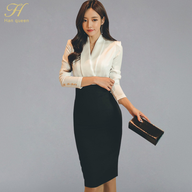 H Han Queen Solid Patchwork Korean Sheath Pencil Autumn Dress Women 2018 Official Wear Bodycon Dresses Casual Business Vestidos