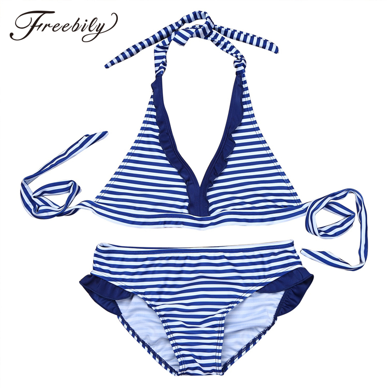 Kids Teens Striped Tankini Swimsuit Two Pieces Swimwear