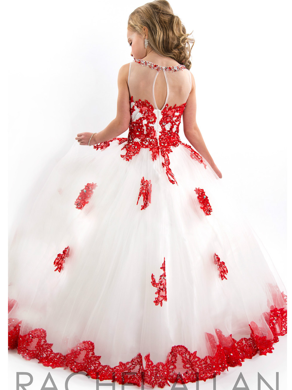 Girls Pageant Dress 2018 New Arival White And Red Floor Length Tulle
