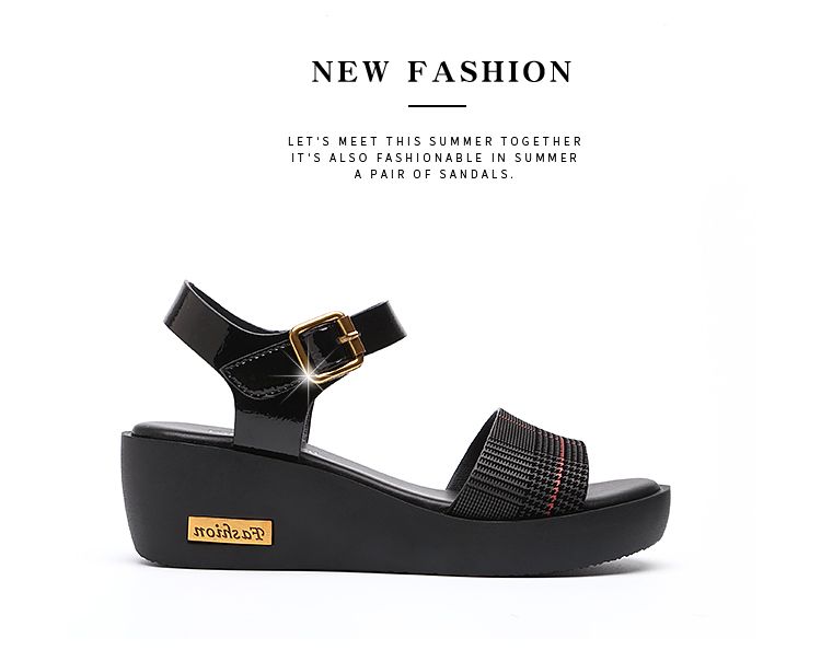 Sandals Female Summer Flat 2019 New Wild With High Heel Wedges Comfortable Non-slip Soft Bottom Pregnant Women Mother Shoes 72