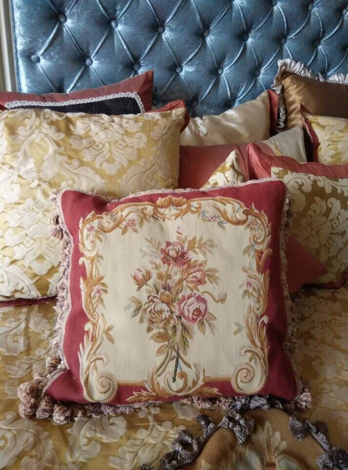 Free Shipping 18x18 Aubusson Hand Woven Cushion, 100% New Zealand Wool handmade pillow, no insertion