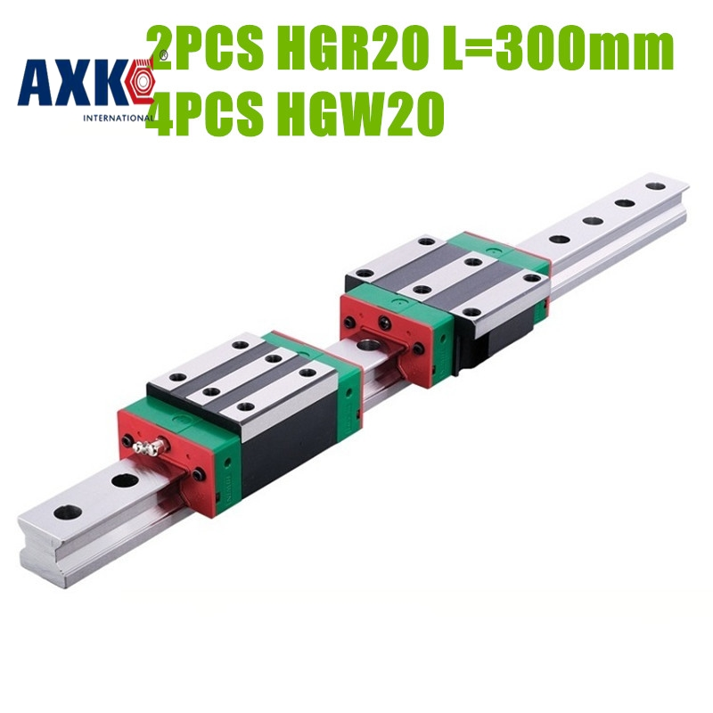 AXK Original HIWIN Linear motion guide 2pcs HGR20 L=300mm linear rail with 4pcs HGW20 CA carriage free shipping to argentina 2 pcs hgr25 3000mm and hgw25c 4pcs hiwin from taiwan linear guide rail