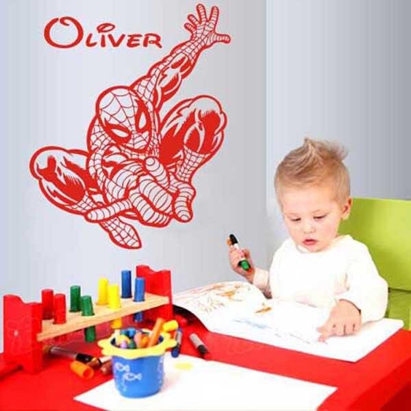 Nuevo vinilo Spiderman Nombre de aduana removible póster de dibujos animados pegatinas de pared para habitaciones de niños tamaño de decoración 72x56 cm
