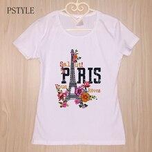 цена на Summer Tshirt Womens Vintage Paris Eiffel Tower Print Tee Shirt Short Sleeve Retro Flower Aesthetic Design Basic White Tops
