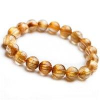 10 мм 100% из натуральной Титан Рутиловый Кварц Для женщин Для мужчин стрейч круглый шарик просто в одну нить Jewelry браслет AAAAAA