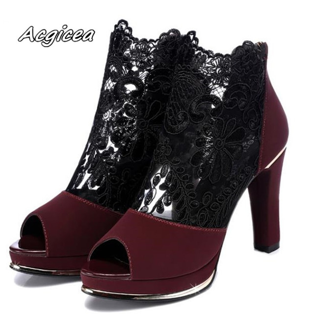 2020 sexy prom wedding shoes Sandals with coarse heels spring and summer new European American waterproof mesh gauze shoes s155