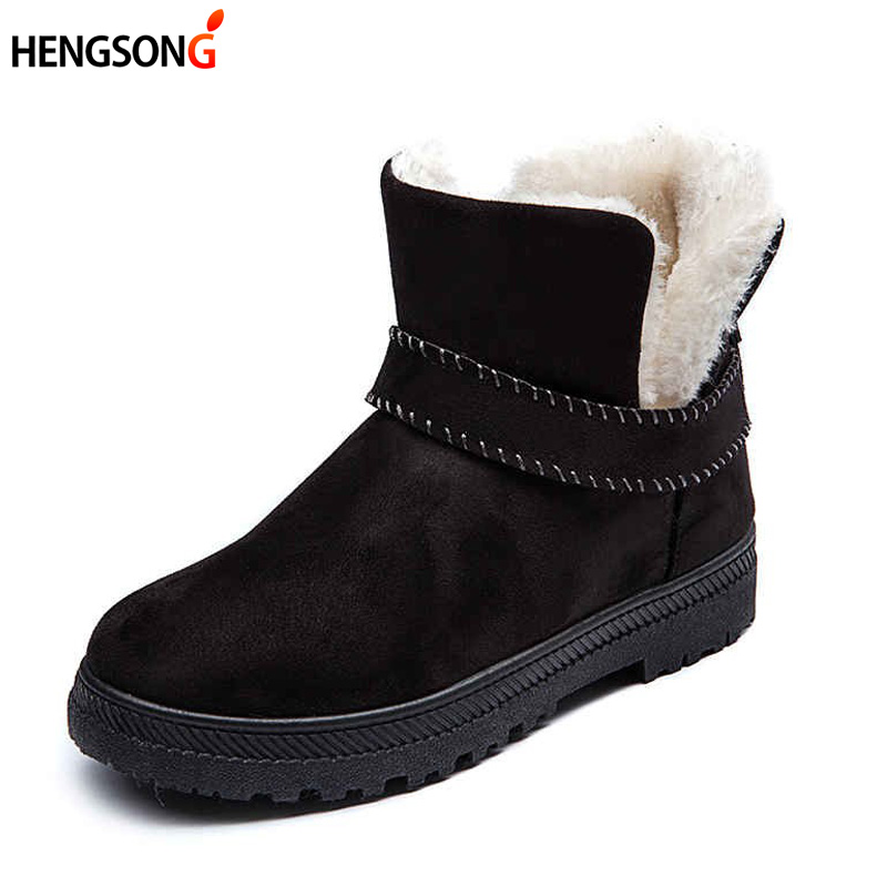 Fashion Women Snow Boots Winter Warm Flock Boot Shoes Woman Ankle Boots Platform Slip-On Flat Shoes Winter Plus Size 43 khtaa women s winter warm plush tassel rivets ankle snow boots ladies slip on flat black platform fur shoes plus size 33 43
