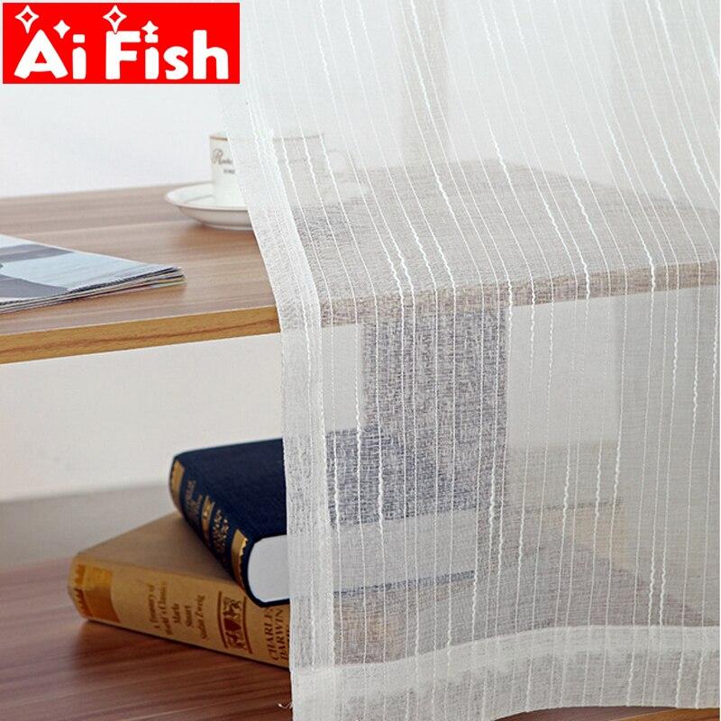 Branco all-match linho listra janelas telas sheer painéis cortinas para sala de estar moderno quarto varanda personalizado wp039-30