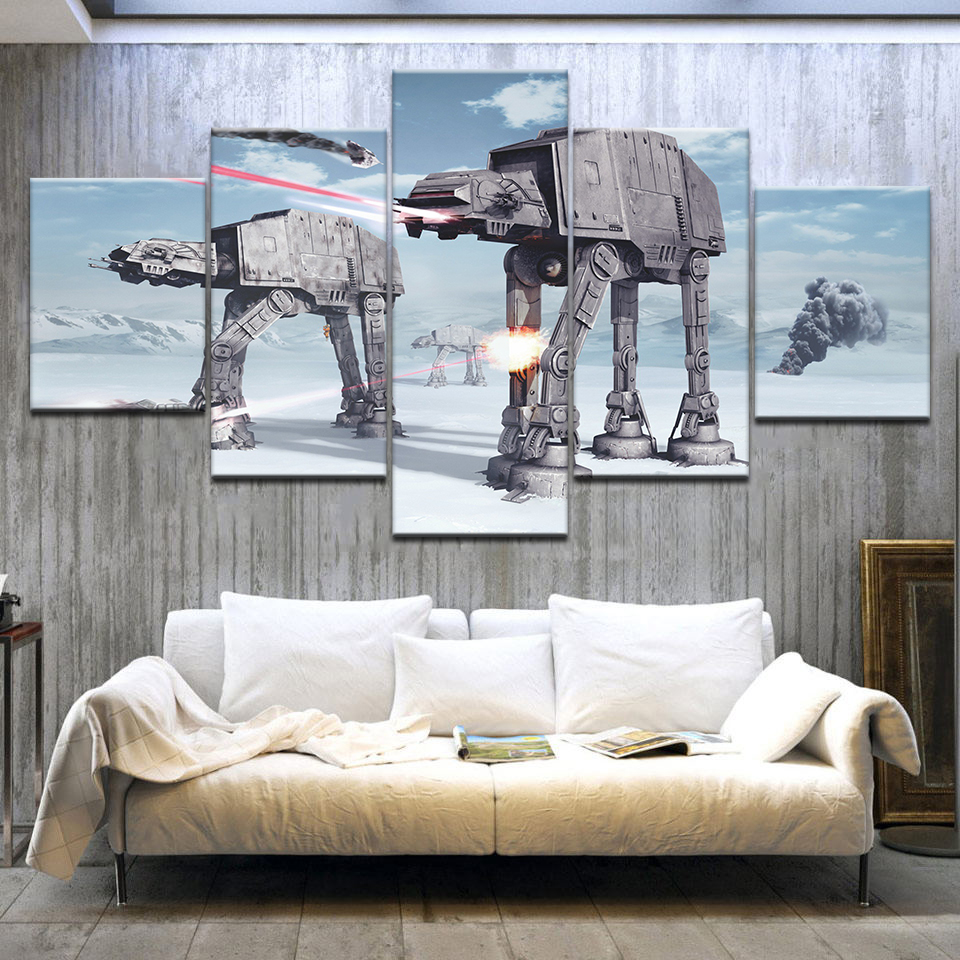 5 Panel HD Print Fotobehang Star Wars battle of hoth movie Print On Canvas Art Painting For home living room decoration