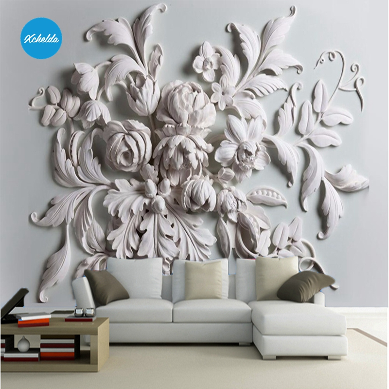 XCHELDA 3D Mural Wallpapers Custom Painting Stereoscopic Embossed Background Bedroom Living Room Wall Murals Papel De Parede custom 3d wall murals wallpaper luxury silk diamond home decoration wall art mural painting living room bedroom papel de parede