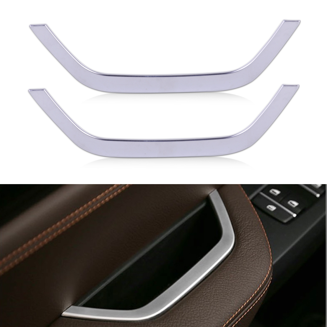 DWCX 2Pcs New Car Inner Armrest Door Storage Box Frame Cover Trim Decoration for BMW X3 F25 2011 2012 2013 2014 2015 2016 2017 abs chrome exterior side door body molding streamer cover trim for bmw x3 f25 2011 2012 2013 2014 2015 car styling accessories