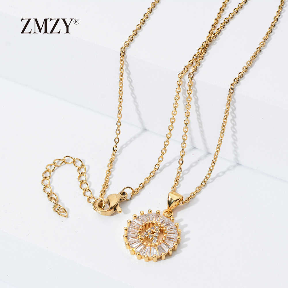 ZMZY Stainless Steel Cubic Zirconia 26 Alphabet Letter Pendant Necklaces A-Z Initial Charm Chain Necklace Women Jewelry Collares
