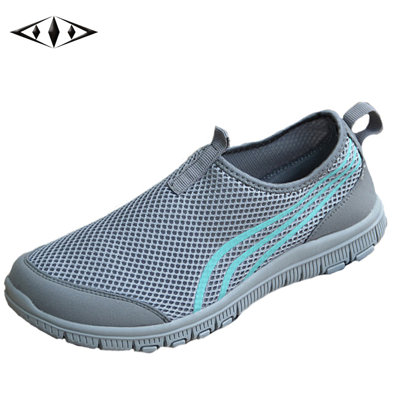 2016 LEMAI Concise Design Striped Men Sneakers Summer Cool Breathable Air Mesh Outdoor Running Shoes Light Trainers 002-2