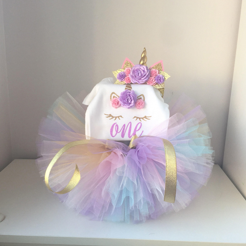 New Baby Girls Clothes Infant 1 Year 1st Birthday Outfits Fancy Unicorn Party Dress Baby Kid Girl Hairband+Rompers+Tutu Dress new baby girls clothes infant 1 year 1st birthday outfits fancy unicorn party dress baby kid girl hairband rompers tutu dress
