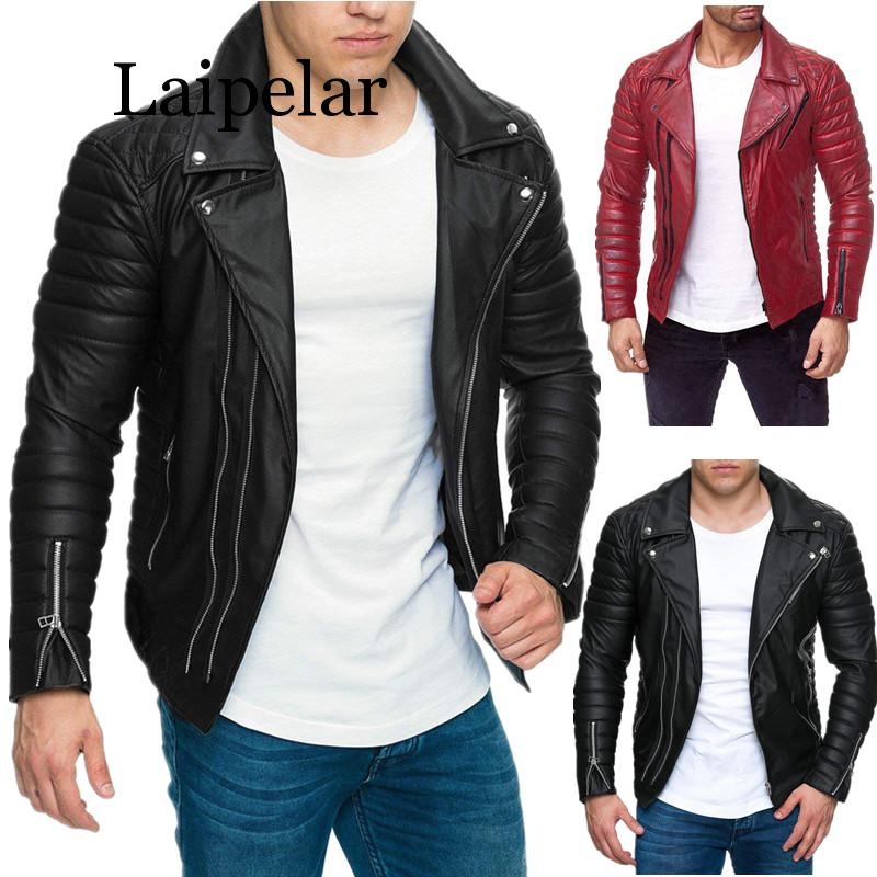 Laipelar 2019 Jacket Men New Men's Fashion Casual Long Sleeved Motorcycle Fur Leather Jacket Slim Fit Mens Winter Coats