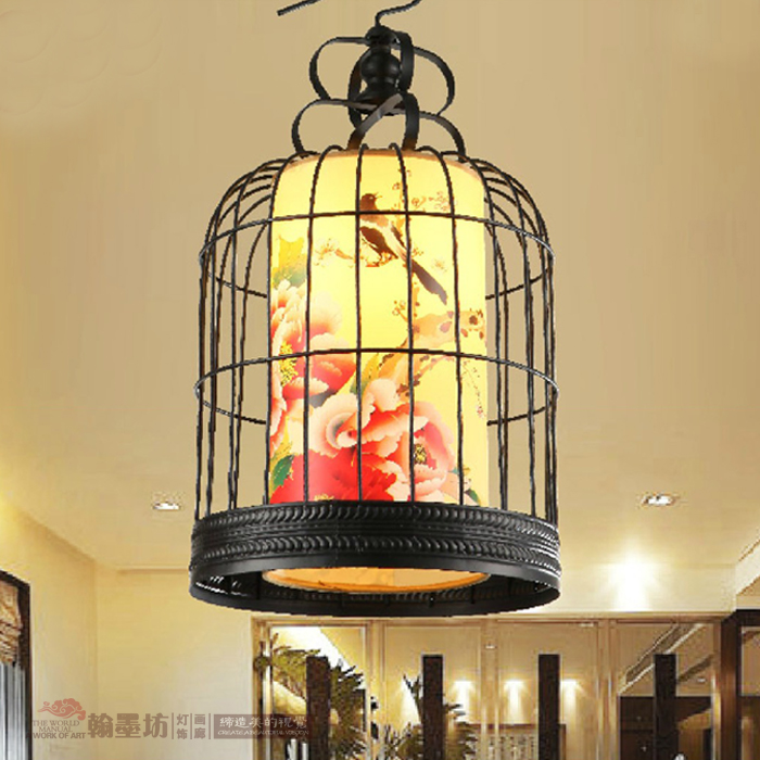 classic antique parchment Chinese style Iron Restaurant Hotel Terrazza creative birdcage pendant lamp iron bar ZS140|pendant lamp|birdcage pendant lamp|lamp iron - title=