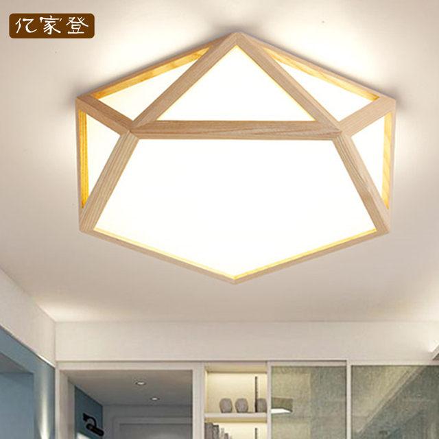 Online Shop Japan Delicate Polygon solid Wooden Frame led ceiling ...