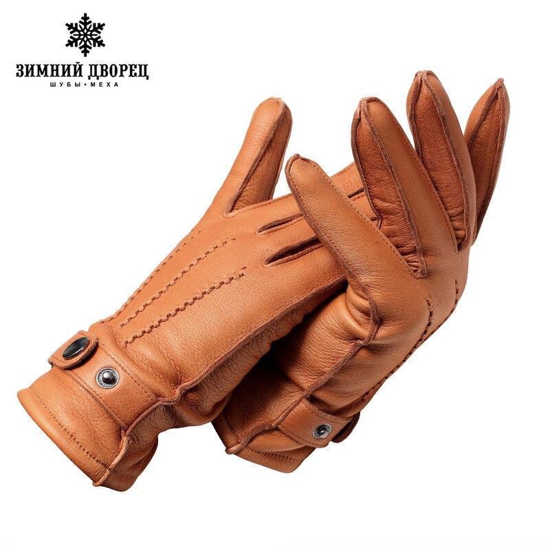 Del Cuoio genuino gloveLuxury guanti di sesso maschile guanti in pelle di Moda Popolare guanti inverno Tough guy guanti uomo nero disegno A Scatto