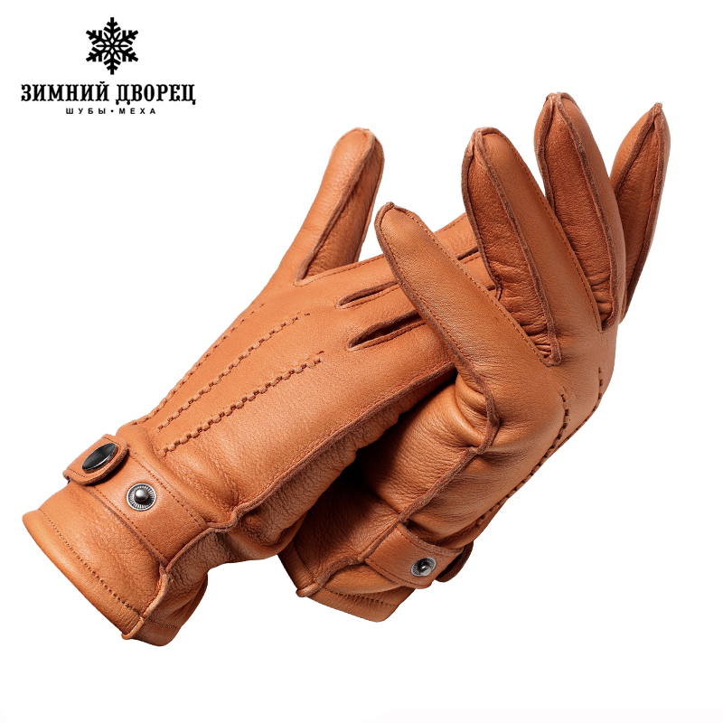 Genuine Leather gloveLuxury gloves male Fashion leather gloves Popular gloves winter Tough guy gloves men black Snap design