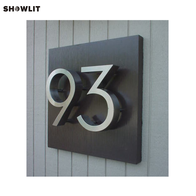 Brushed Stainless Steel Modern House Numbers