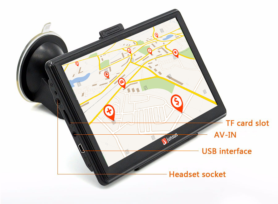 "7"" HD FM Bluetooth Car GPS Navigator - D100 15"
