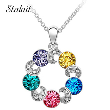 Women Multi Rainbow Circle Charm Pendant Necklace Silver Color Austrian Crystal Necklace Collier Fashion Jewelry