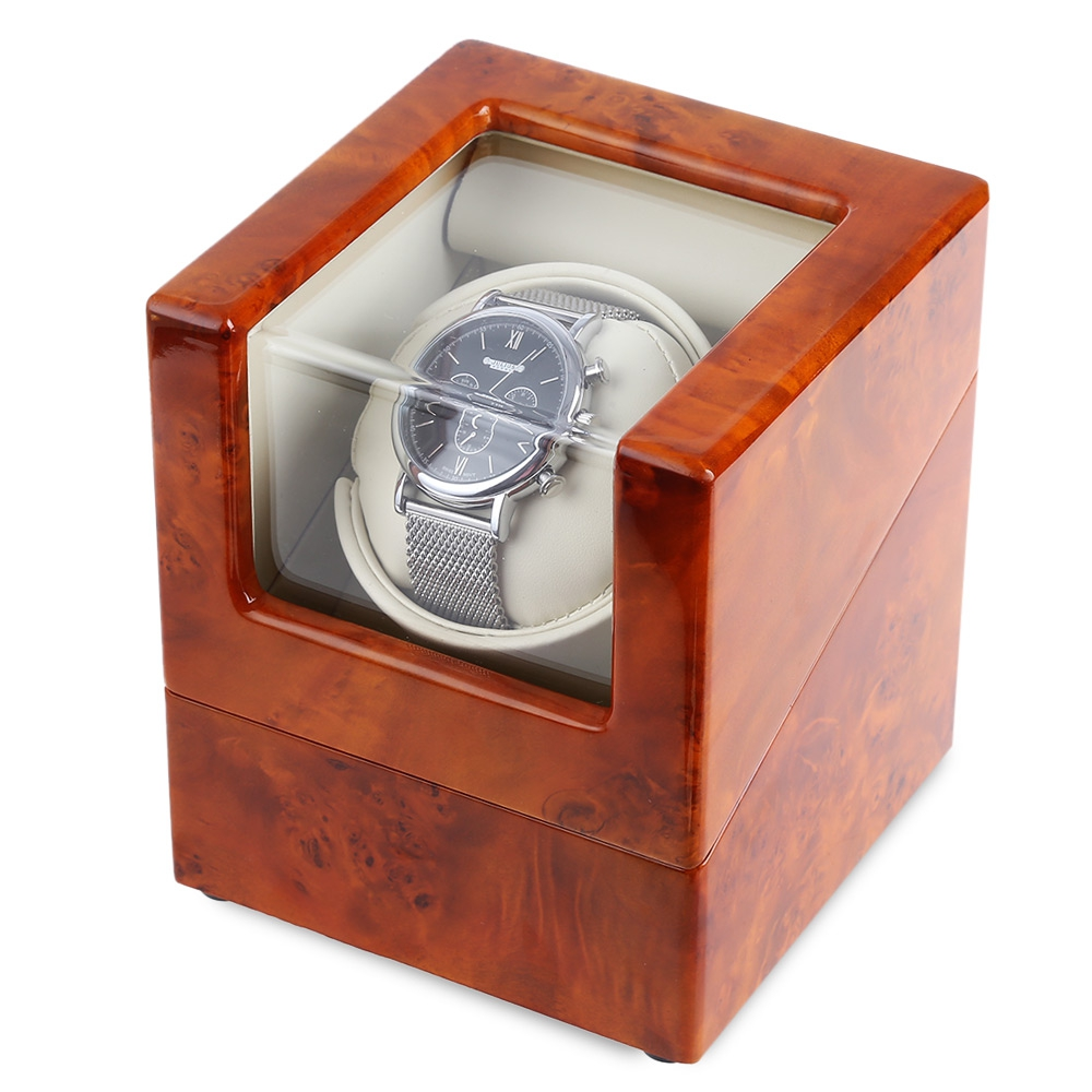 Brown and White Automatic Rotation Wooden Watch Winder Display Box Transparent Cover Jewelry Storage Organizer with EU Plug dark wine red wooden watch display box automatic switch and lock watches case jewelry storage holder organizer free shipping