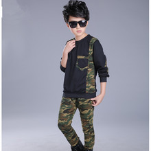 Style Boys Spring Autumn Youngsters's Clothes Units Camouflage Lengthy-sleeved Shirt+trousers 2 Piece Units Children Sport Units Fits