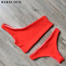 RXRXCOCO Solid Bikinis 2017 Brazillian Swimsuit Women White Bikini Set Sexy One Shoulder Swimwear Female Thong Swimming Suit