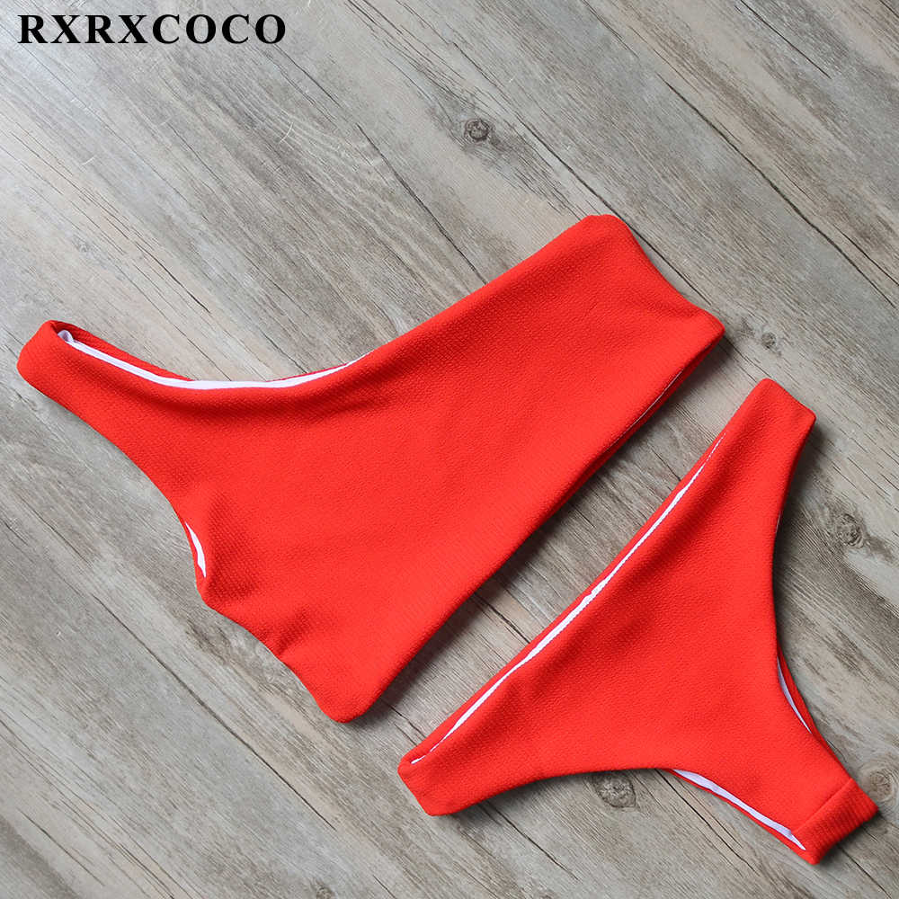 Rxrxcoco Solid Bikini 2020 Brazillian Badpak Vrouwen Witte Bikini Set Sexy Een Schouder Badmode Vrouwelijke Thong Zwemmen Pak