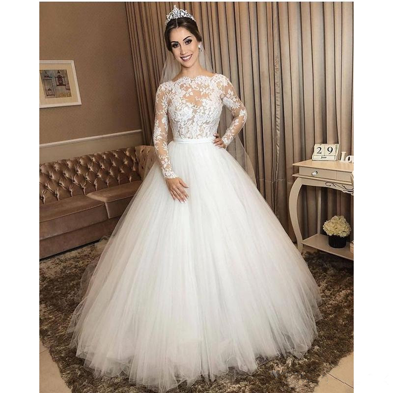 Long Sleeve Wedding Dress 2019 A line Lace Applique Floor Length Tulle Sexy Illusion Wedding Gown