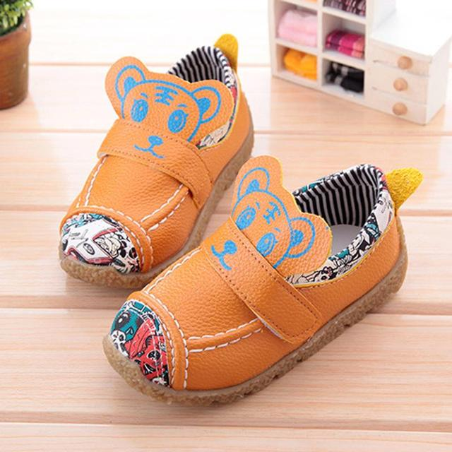 Spring 2016 fashion children shoes boys leather shoes cute cartoon soft sole comfortable moccasins kids shoes casual sneakers